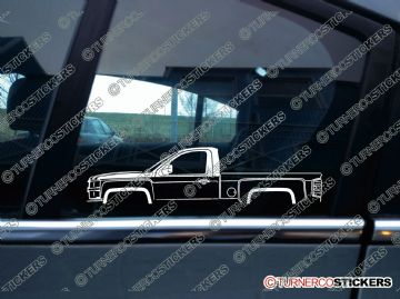 2x Car Silhouette sticker - 2014 Chevrolet Silverado regular cab pickup